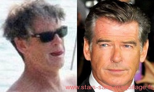 Pierce Brosnan sans maquillage